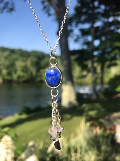 SOLD - Sterling silver cabochon with lapis lazuli