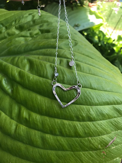 Sterling silver heart necklace with rose quartz