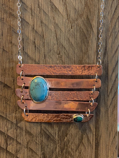 Hammered copper and turquoise pendant