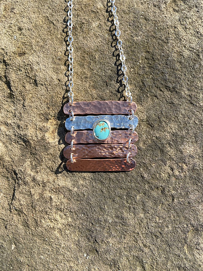 Copper and sterling silver with turquoise pendant