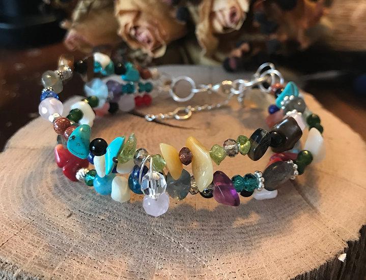 Multi gemstone bracelet on sterling silver wire