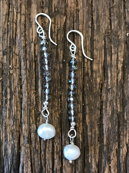 Sterling silver earrings with pearls and crystals