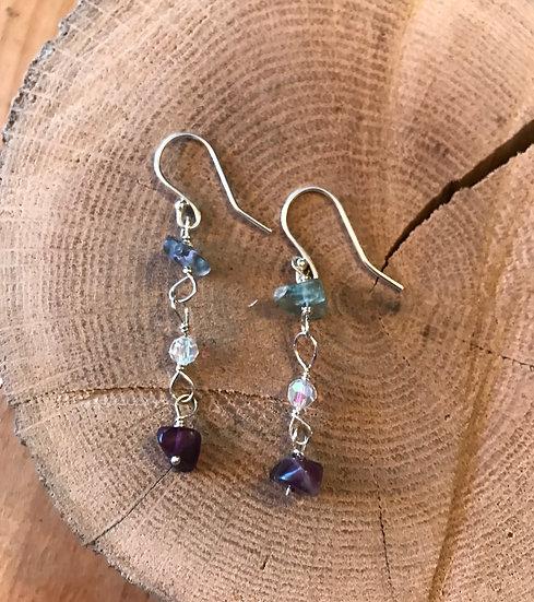 Sterling silver rainbow fluorite earrings