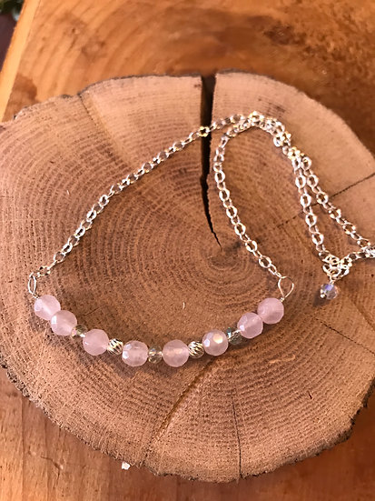 Sterling silver with rose quartz necklace