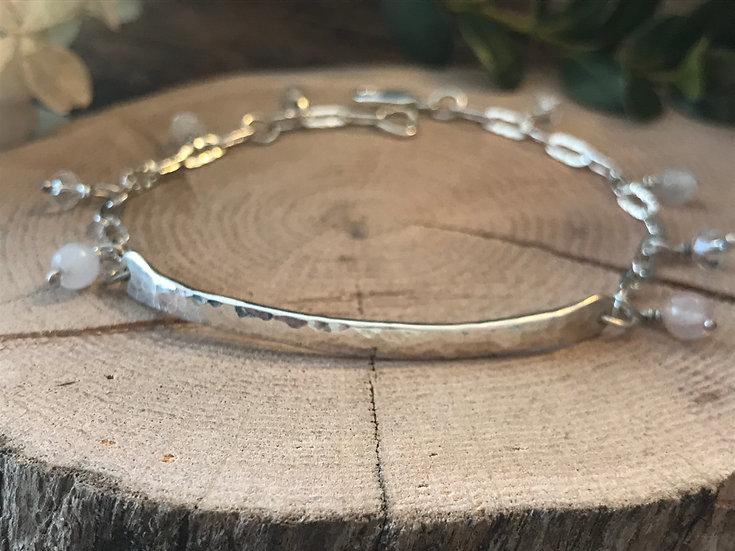 Sterling silver bracelet with rose quartz