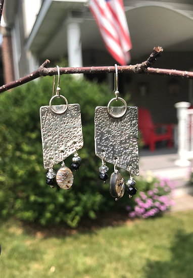 Sterling silver textured earring with abalone