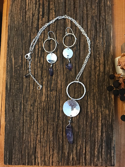 Sterling silver hammered necklace with amethyst