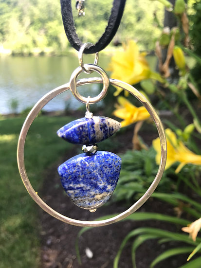 Sterling silver hoop with double lapis lazuli
