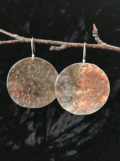 Sterling silver hammered oxidized earrings