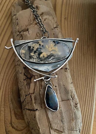 Sterling silver dendritic tiger agate pendant