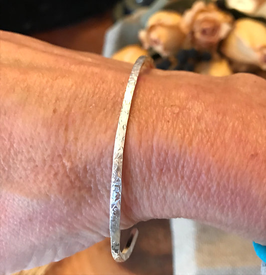 Sterling silver hammered thin bangle bracelet