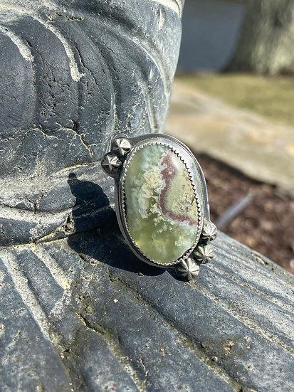 Sterling silver bio chrysoprase ring