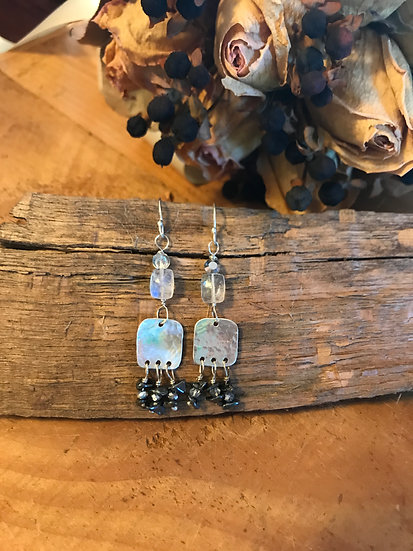 Sterling silver earrings with hematite and moonstone