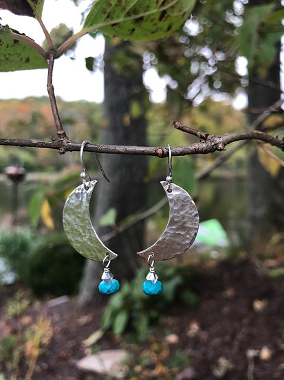 Sterling silver hammered moons