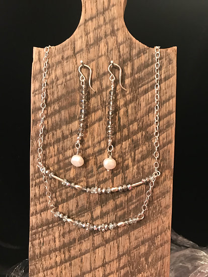 Sterling silver necklace with crystal beads