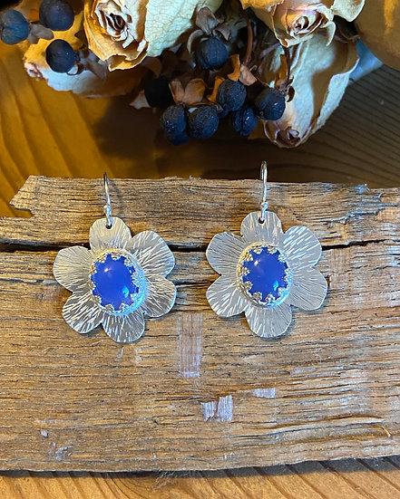 Sterling silver flower earrings with chalcedony