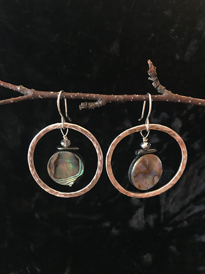 Sterling silver earring with abalone shell