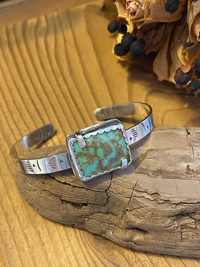 SOLD - Sterling silver and Turquoise bracelet with prongs