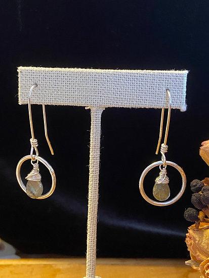 Sterling silver w labradorite drop hoops