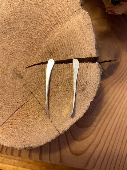 Sterling silver hammered twist earrings
