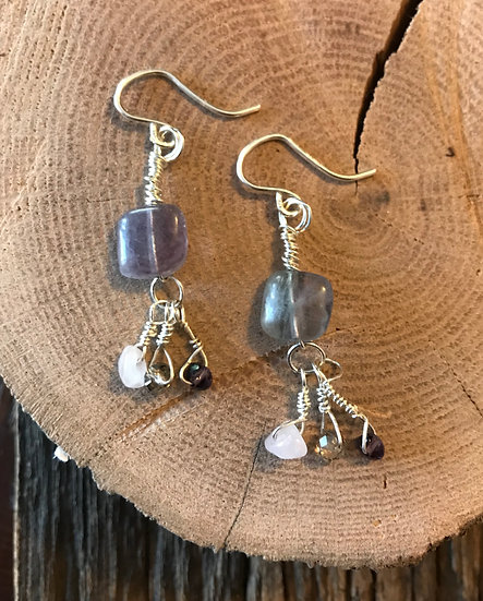 Sterling silver rainbow fluorite earrings