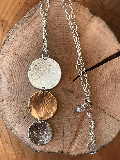 Sterling silver and 14 karat gold filled hammered discs necklace