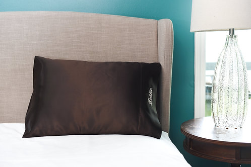 Dark Chocolate Bridal Satin Pillowcase
