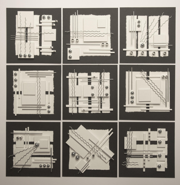 nine white squares 52 x 52cms