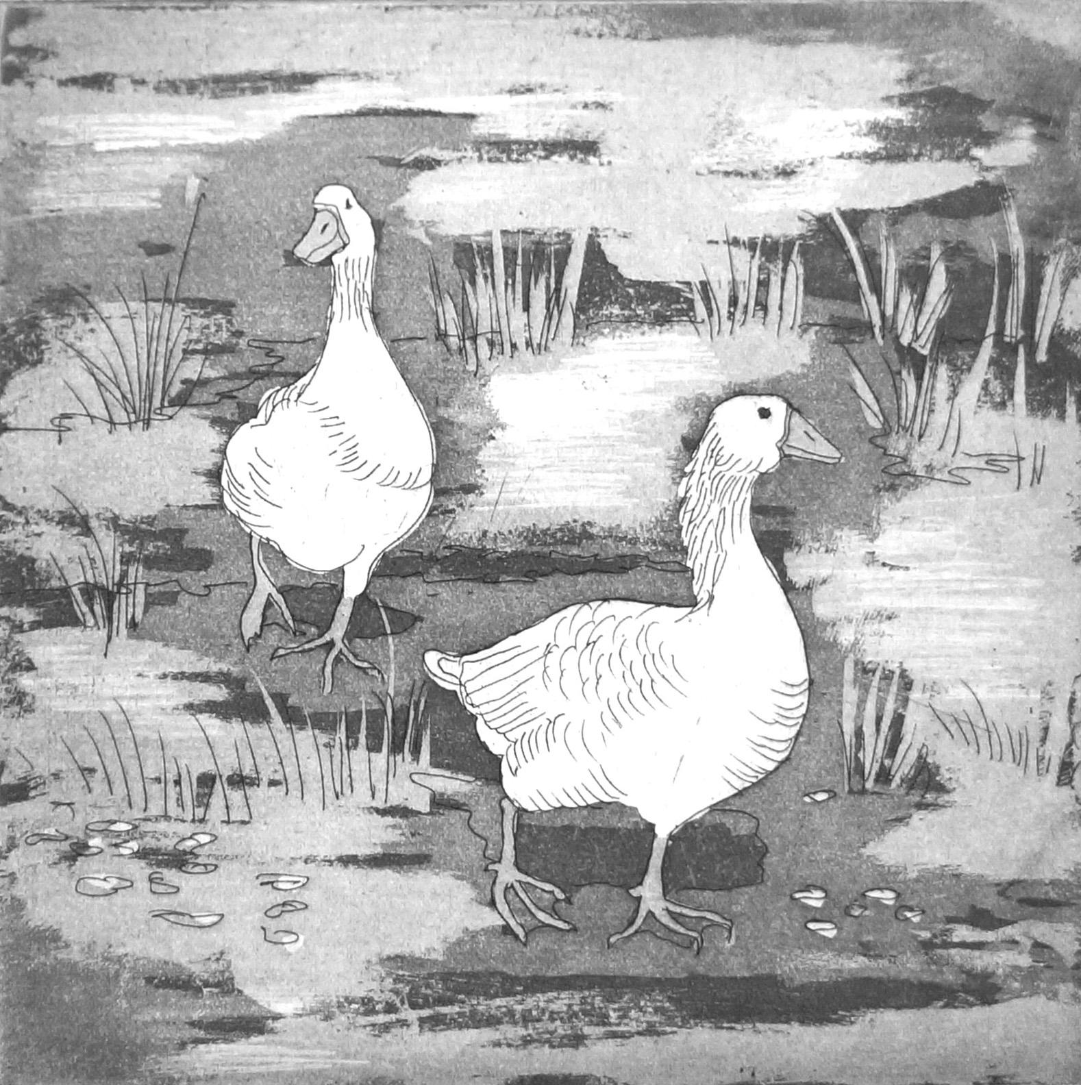 Geese 1   32 x 32 cms