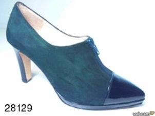 Zapato de vestir de ante-charol color negro (28129)