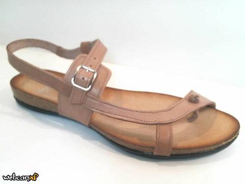 Sandalia de dedo de vaquetilla color beige (32003)