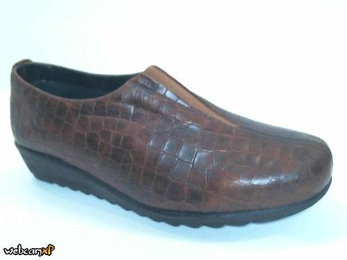 Zapato tipo casual de piel grabada coco color cuero (32078)