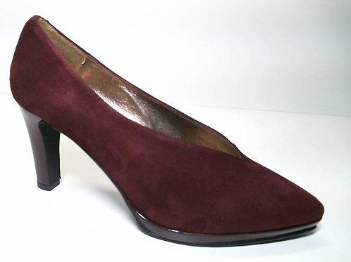 Zapato de vestir de ante-charol color burdeos (29648)