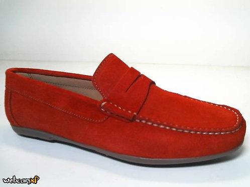 Mocasín de serraje color rojo (31891)