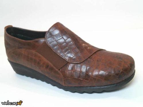 Zapato tipo casual de piel grabada coco color cuero (32075)