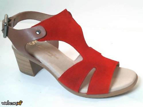 Sandalia de serraje color rojo (32484)