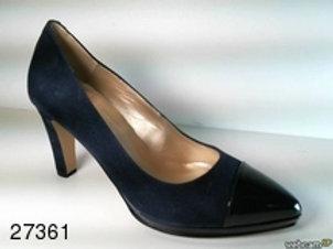 Zapato de vestir de ante-charol color azul (27361)