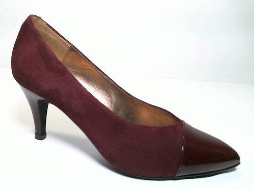Zapato de vestir de ante-charol color burdeos (29650)