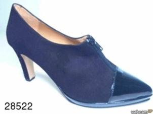 Zapato de vestir de ante-charol color negro (28522)