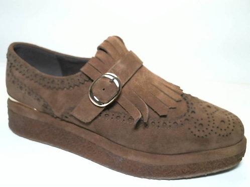 Zapato de vestir de crosta color cuero (29447)