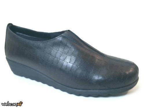 Zapato tipo casual de piel grabada coco color negro (32053)