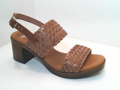 Sandalia de trenza/vaqueta color cuero (32589)