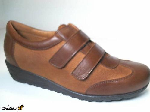 Zapato cómodo de napa y nobuck color cuero (31575)