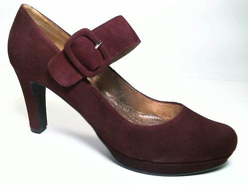 Zapato de vestir de ante color burdeos (29655)