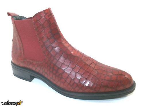 Botín de piel grabada coco color rojo (32124)