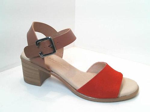 Sandalia de serraje color rojo (32526)