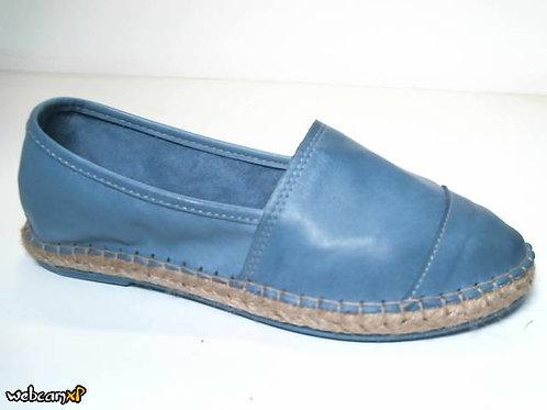 Alpargata de piel color azul (31849)
