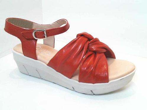 Sandalia de piel color rojo (32549)