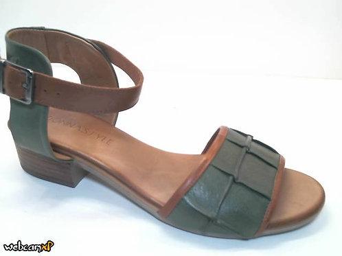 Sandalia de piel color kaki (32442)