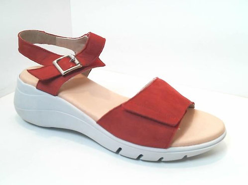 Sandalia de piel color rojo (32580)